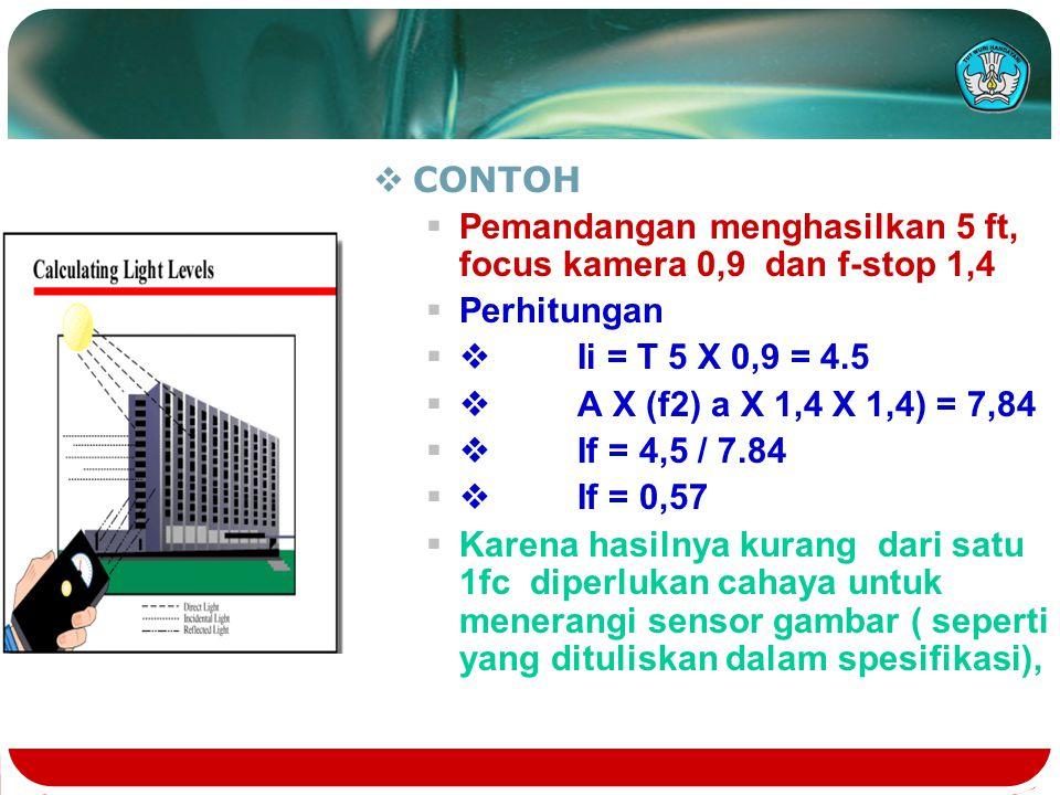  CONTOH  Pemandangan menghasilkan 5 ft, focus kamera 0,9 dan f-stop 1,4  Perhitungan  Ii = T 5 X 0,9 = 4.5  A X (f2) a X 1,4 X 1,4) = 7,84  I