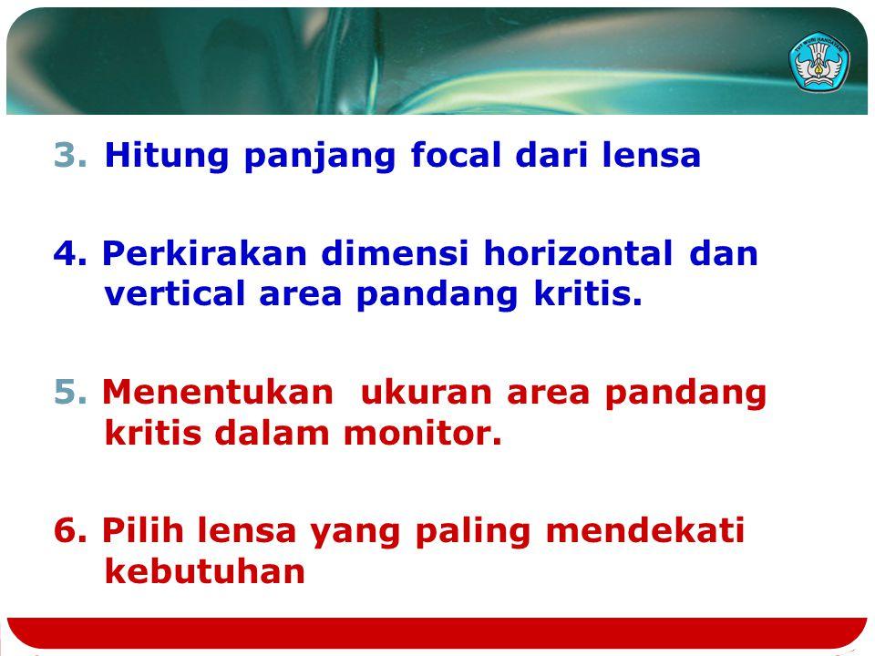 3.Hitung panjang focal dari lensa 4. Perkirakan dimensi horizontal dan vertical area pandang kritis. 5. Menentukan ukuran area pandang kritis dalam mo