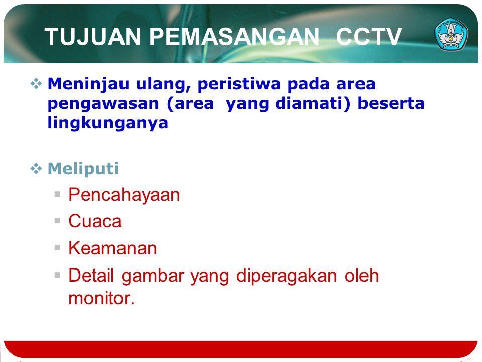 TUJUAN PEMASANGAN CCTV  Meninjau ulang, peristiwa pada area pengawasan (area yang diamati) beserta lingkunganya  Meliputi  Pencahayaan  Cuaca  Ke
