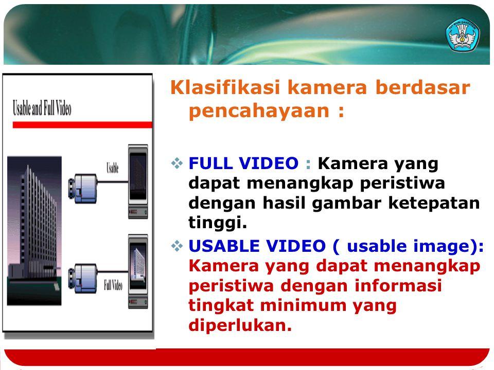 Klasifikasi kamera berdasar pencahayaan :  FULL VIDEO : Kamera yang dapat menangkap peristiwa dengan hasil gambar ketepatan tinggi.  USABLE VIDEO (