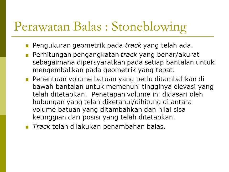 Perawatan Balas : Stoneblowing  Pengukuran geometrik pada track yang telah ada.  Perhitungan pengangkatan track yang benar/akurat sebagaimana dipers