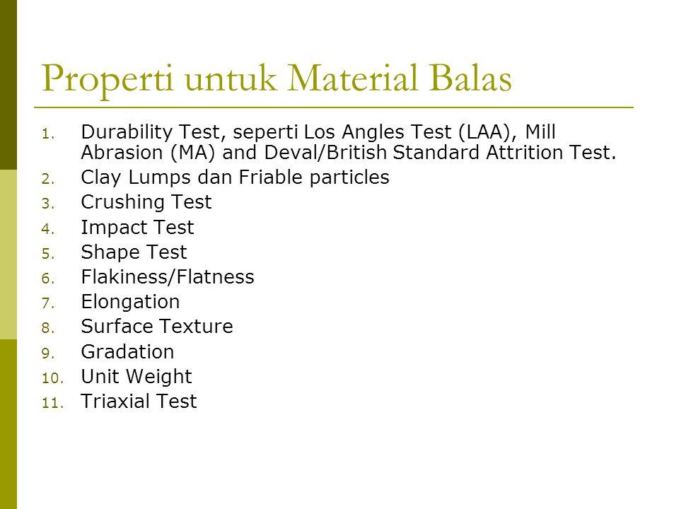 Properti untuk Material Balas 1. Durability Test, seperti Los Angles Test (LAA), Mill Abrasion (MA) and Deval/British Standard Attrition Test. 2. Clay
