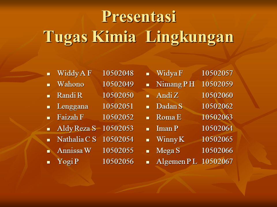 Presentasi Tugas Kimia Lingkungan  Widdy A F 10502048  Wahono10502049  Randi R10502050  Lenggana10502051  Faizah F10502052  Aldy Reza S10502053  Nathalia C S10502054  Annissa W10502055  Yogi P 10502056  Widya F 10502057  Nimang P H10502059  Andi Z10502060  Dadan S10502062  Roma E10502063  Iman P10502064  Winny K10502065  Mega S10502066  Algemen P L10502067