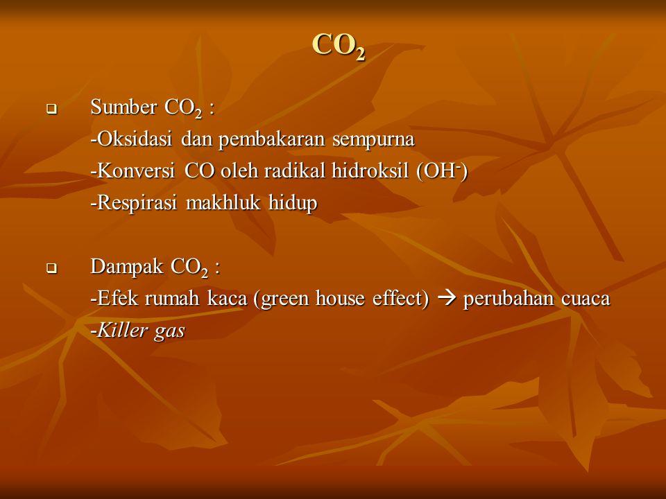CO 2  Sumber CO 2 : -Oksidasi dan pembakaran sempurna -Konversi CO oleh radikal hidroksil (OH - ) -Respirasi makhluk hidup  Dampak CO 2 : -Efek rumah kaca (green house effect)  perubahan cuaca -Killer gas