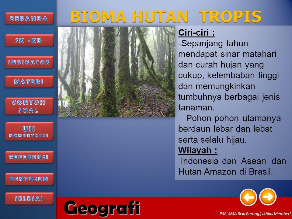 6/27/2014156/27/2014 Geografi PSB-SMA Rela Berbagi, Ikhlas Memberi Ciri-ciri : - Padang rumput yang diselingi oleh pohon-pohon yang tumbuhnya menyebar.