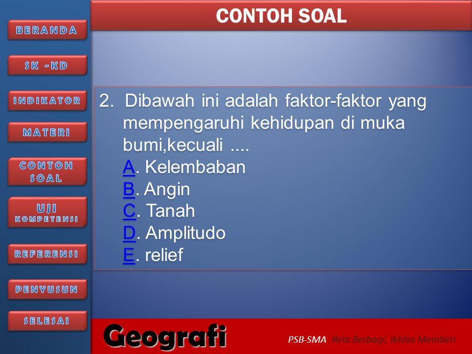 6/27/2014226/27/2014 Geografi PSB-SMA Rela Berbagi, Ikhlas Memberi Soal berikutnya..