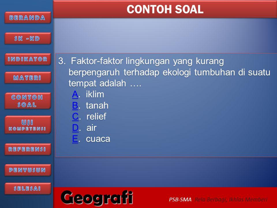 6/27/2014256/27/2014 Geografi PSB-SMA Rela Berbagi, Ikhlas Memberi Soal berikutnya..