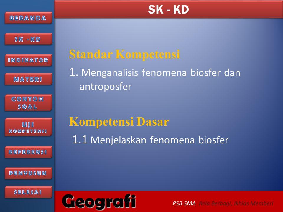 6/27/20142 Geografi PSB-SMA Rela Berbagi, Ikhlas Memberi BIOSFER BAHAN AJAR GEOGRAFI KELAS XI SMA SEMESTER 1