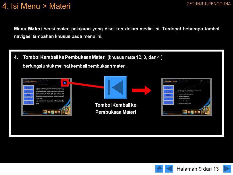 4.Isi Menu > Materi Menu Materi berisi materi pelajaran yang disajikan dalam media ini.