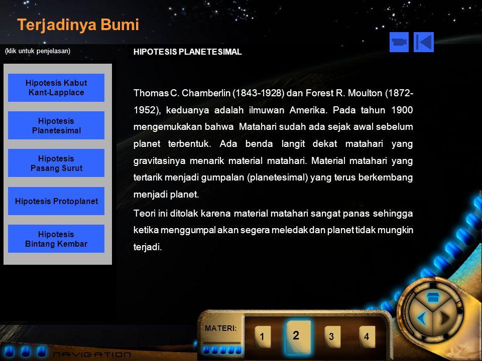MATERI: Terjadinya Bumi Hipotesis Kabut Kant-Lapplace Hipotesis Planetesimal Hipotesis Pasang Surut Hipotesis Bintang Kembar Hipotesis Protoplanet (klik untuk penjelasan) 1234 2 HIPOTESIS KABUT KANT-LAPPLACE