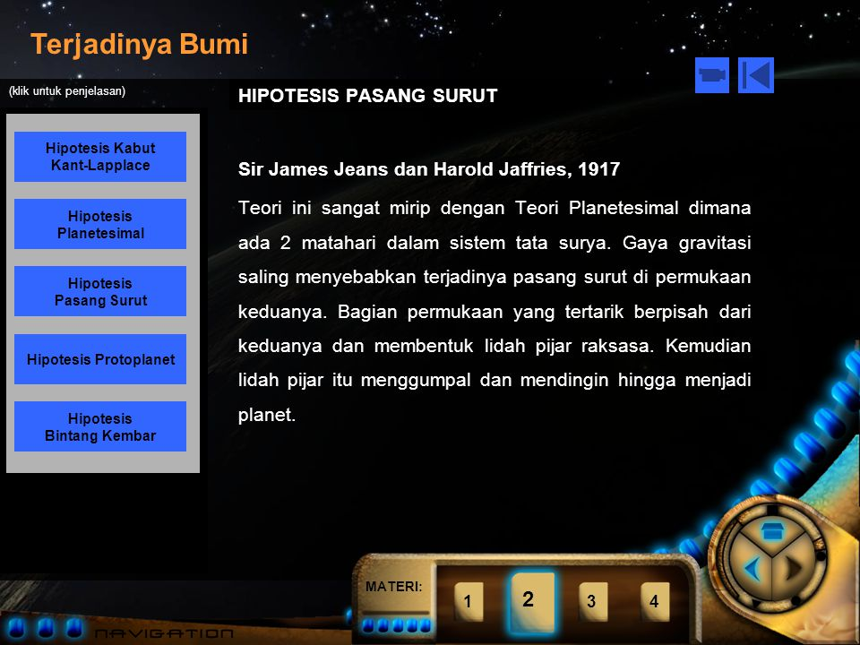 MATERI: Terjadinya Bumi Hipotesis Kabut Kant-Lapplace Hipotesis Planetesimal Hipotesis Pasang Surut Hipotesis Bintang Kembar Hipotesis Protoplanet (klik untuk penjelasan) 1234 2 HIPOTESIS PLANETESIMAL