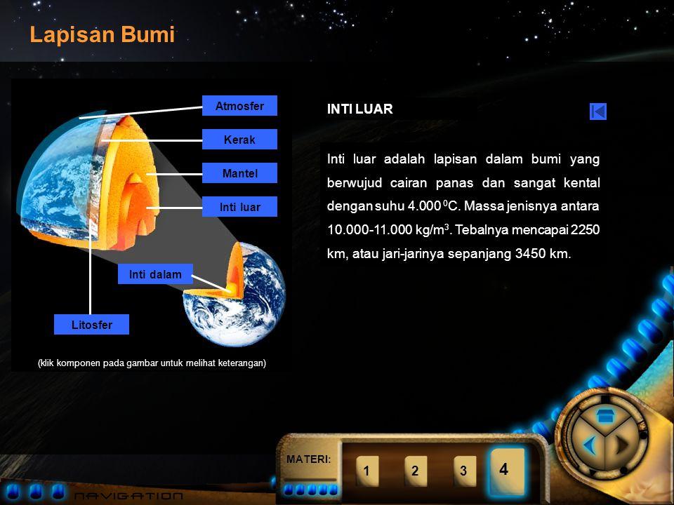 MATERI: Atmosfer Kerak Mantel Inti luar Inti dalam Litosfer (klik komponen pada gambar untuk melihat keterangan) Lapisan Bumi 1234 4 MANTEL Mantel adalah lapisan dalam bumi yang terdiri dari cairan kental panas bersuhu 1.500-3.000 0 C dengan massa jenis berkisar antara 4.000-6.000 kg/m 3.