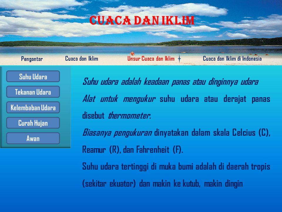 CUACA DAN IKLIM Pengantar Cuaca dan IklimUnsur Cuaca dan IklimCuaca dan Iklim di Indonesia Awan