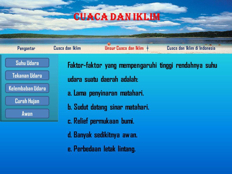 CUACA DAN IKLIM Pengantar Cuaca dan IklimUnsur Cuaca dan IklimCuaca dan Iklim di Indonesia Suhu udara adalah keadaan panas atau dinginnya udara Alat untuk mengukur suhu udara atau derajat panas disebut thermometer.