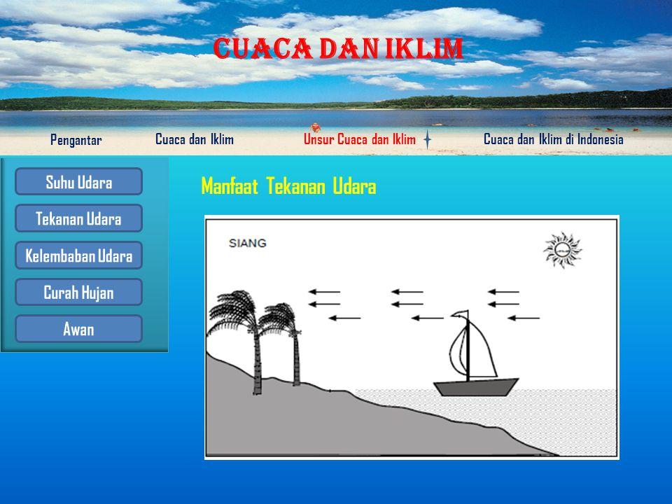 CUACA DAN IKLIM Pengantar Cuaca dan IklimUnsur Cuaca dan IklimCuaca dan Iklim di Indonesia 1.Besar atau kecilnya tekanan udara, dapat diukur dengan me
