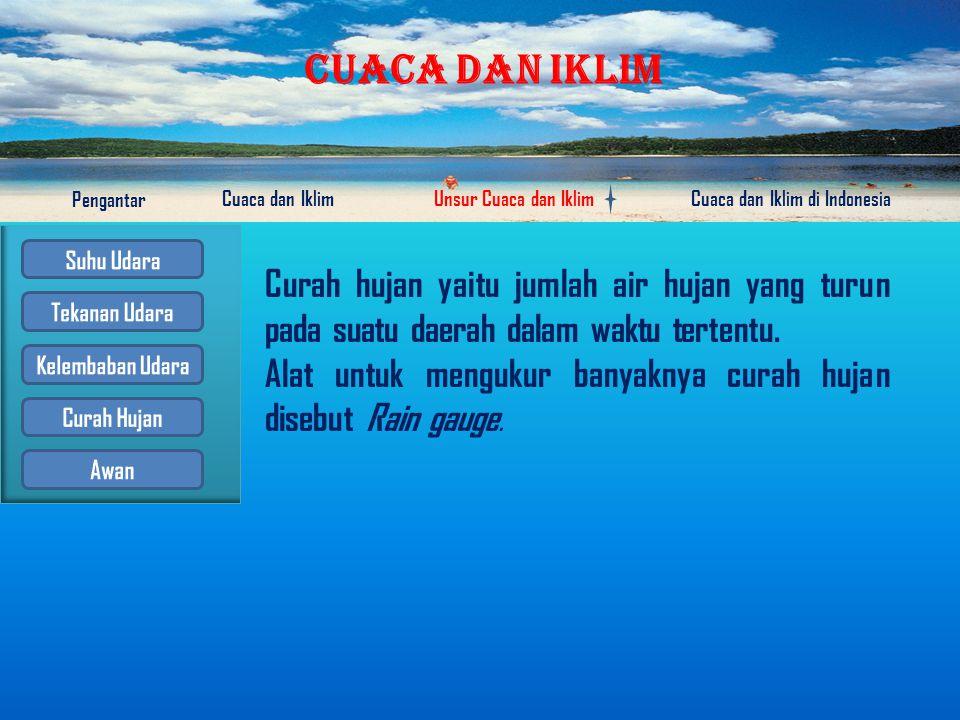 CUACA DAN IKLIM Pengantar Cuaca dan IklimUnsur Cuaca dan IklimCuaca dan Iklim di Indonesia Kelembaban udara adalah banyak atau sedikitnya kandungan uap air di udara.