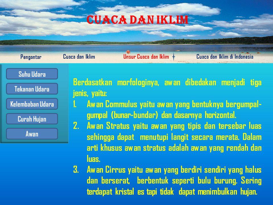 CUACA DAN IKLIM Pengantar Cuaca dan IklimUnsur Cuaca dan IklimCuaca dan Iklim di Indonesia Awan Awan ialah kumpulan titik-titik air/kristal es di dalam udara yang terjadi karena adanya kondensasi/sublimasi dari uap air yang terdapat dalam udara.