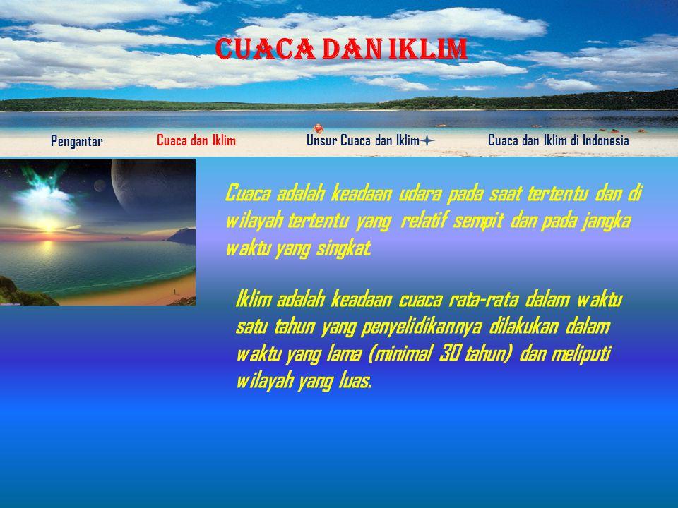 CUACA DAN IKLIM Pengantar Cuaca dan IklimUnsur Cuaca dan IklimCuaca dan Iklim di Indonesia So, apa yang kalian ketahui tentang cuaca dan Iklim????