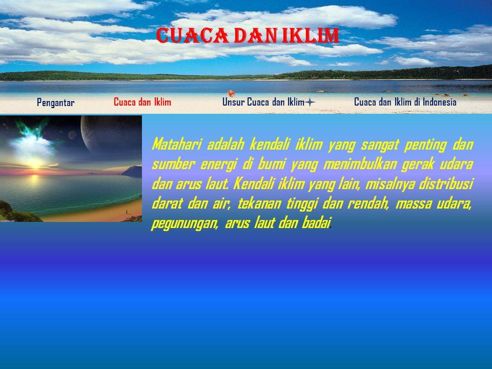 CUACA DAN IKLIM Pengantar Cuaca dan IklimUnsur Cuaca dan IklimCuaca dan Iklim di Indonesia Cuaca adalah keadaan udara pada saat tertentu dan di wilayah tertentu yang relatif sempit dan pada jangka waktu yang singkat.