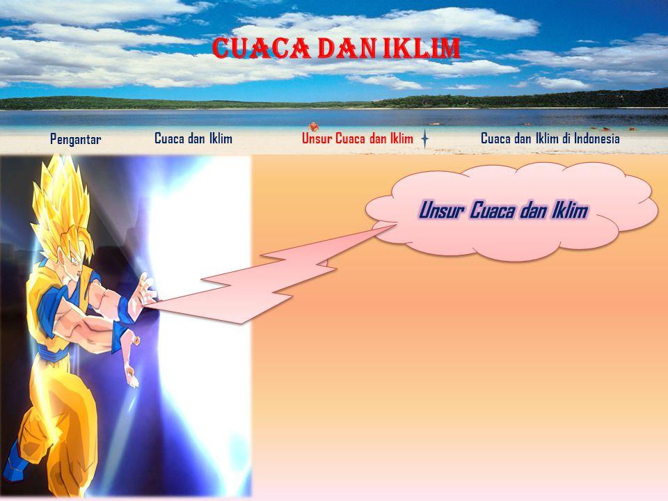 CUACA DAN IKLIM Pengantar Cuaca dan IklimUnsur Cuaca dan IklimCuaca dan Iklim di Indonesia Klimatologi adalah ilmu tentang iklim Meteorologi adalah ilmu tentang keadaan cuaca