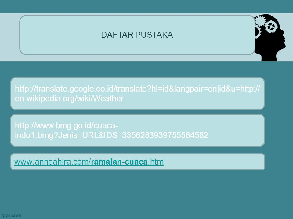 DAFTAR PUSTAKA http://translate.google.co.id/translate?hl=id&langpair=en|id&u=http:// en.wikipedia.org/wiki/Weather http://www.bmg.go.id/cuaca- indo1.