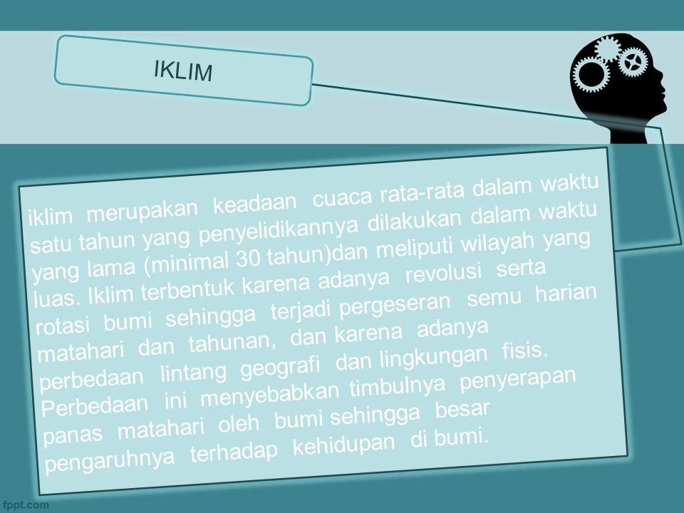 IKLIM iklim merupakan keadaan cuaca rata-rata dalam waktu satu tahun yang penyelidikannya dilakukan dalam waktu yang lama (minimal 30 tahun)dan meliputi wilayah yang luas.
