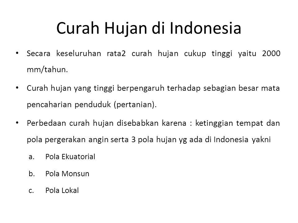 Curah Hujan di Indonesia • Secara keseluruhan rata2 curah hujan cukup tinggi yaitu 2000 mm/tahun. • Curah hujan yang tinggi berpengaruh terhadap sebag