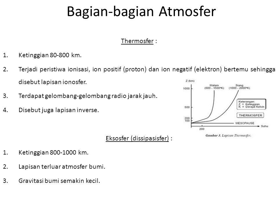 Bagian-bagian Atmosfer Thermosfer : 1.Ketinggian 80-800 km. 2.Terjadi peristiwa ionisasi, ion positif (proton) dan ion negatif (elektron) bertemu sehi