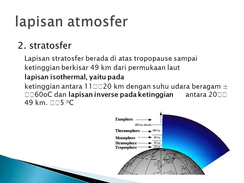 3.Mesosfer Lapisan mesosfer terdapat pada ketinggian antara 4985 km di atas permukaan bumi.