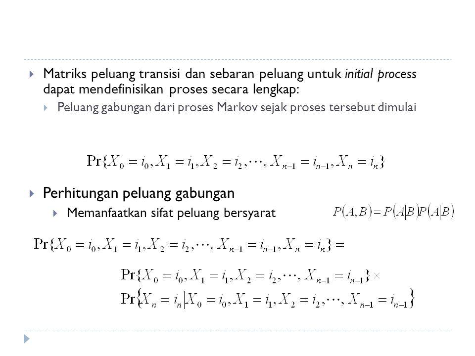  Matriks peluang transisi dan sebaran peluang untuk initial process dapat mendefinisikan proses secara lengkap:  Peluang gabungan dari proses Markov sejak proses tersebut dimulai  Perhitungan peluang gabungan  Memanfaatkan sifat peluang bersyarat