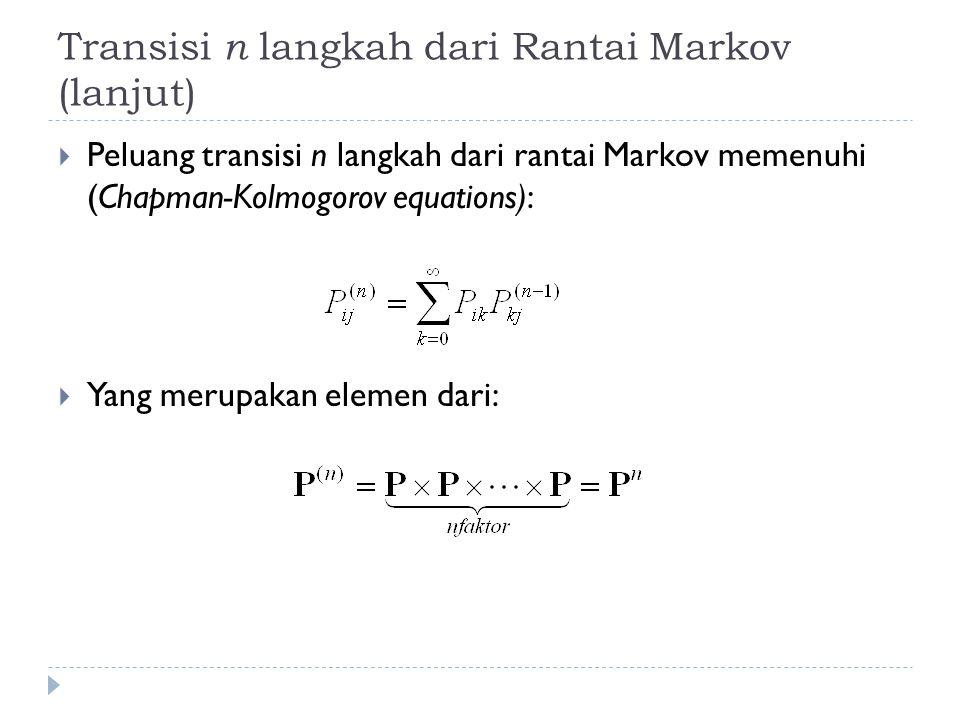 Transisi n langkah dari Rantai Markov (lanjut)  Peluang transisi n langkah dari rantai Markov memenuhi (Chapman-Kolmogorov equations):  Yang merupak