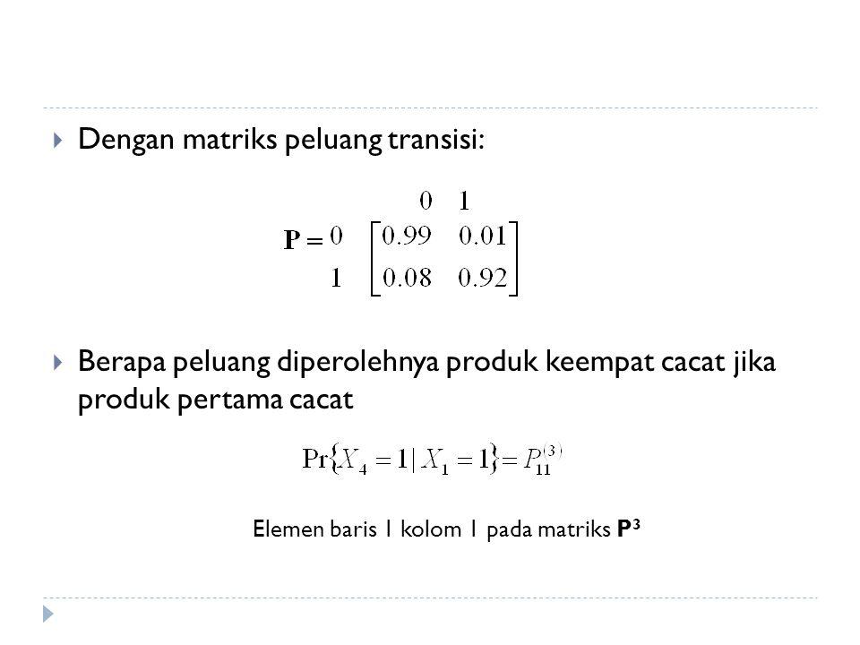  Dengan matriks peluang transisi:  Berapa peluang diperolehnya produk keempat cacat jika produk pertama cacat Elemen baris 1 kolom 1 pada matriks P 3