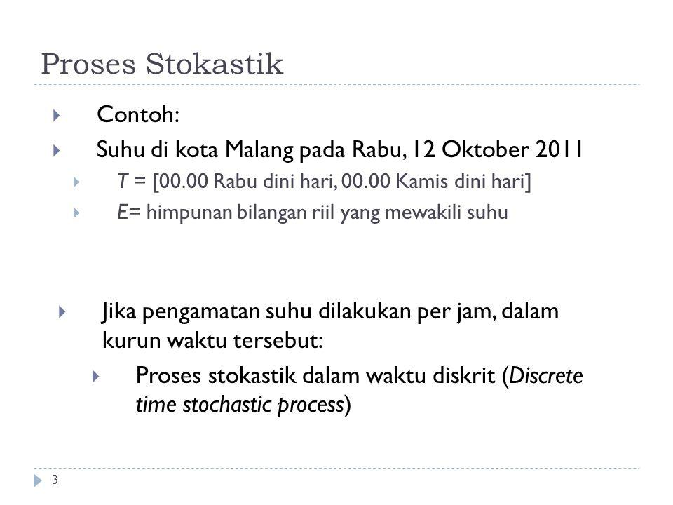 3 Proses Stokastik  Contoh:  Suhu di kota Malang pada Rabu, 12 Oktober 2011  T = [00.00 Rabu dini hari, 00.00 Kamis dini hari]  E= himpunan bilangan riil yang mewakili suhu  Jika pengamatan suhu dilakukan per jam, dalam kurun waktu tersebut:  Proses stokastik dalam waktu diskrit (Discrete time stochastic process)
