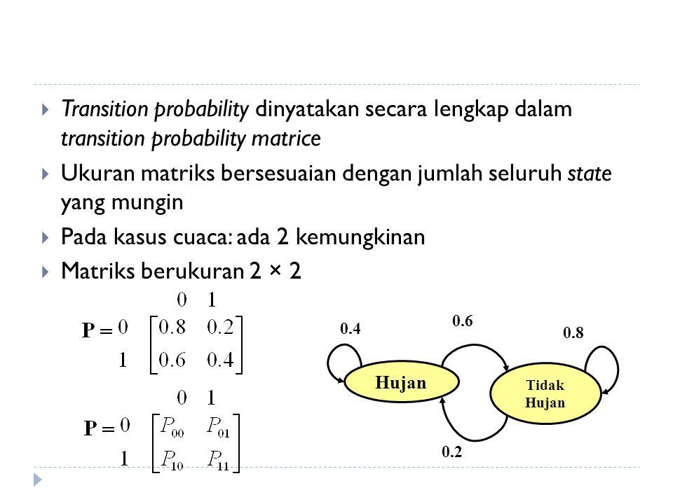 Transition probability dinyatakan secara lengkap dalam transition probability matrice  Ukuran matriks bersesuaian dengan jumlah seluruh state yang mungin  Pada kasus cuaca: ada 2 kemungkinan  Matriks berukuran 2 × 2 Hujan Tidak Hujan 0.6 0.4 0.8 0.2