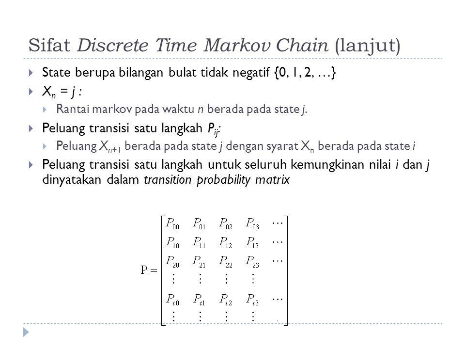 Sifat Discrete Time Markov Chain (lanjut)  State berupa bilangan bulat tidak negatif {0, 1, 2, …}  X n = j :  Rantai markov pada waktu n berada pada state j.