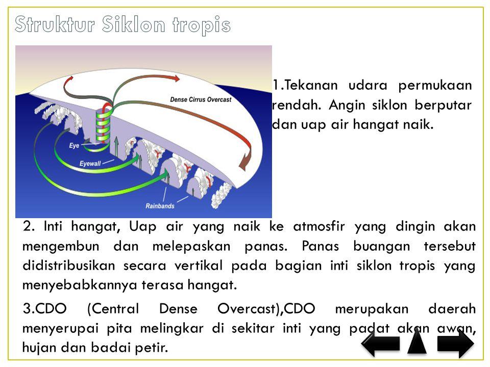 2.Inti hangat, Uap air yang naik ke atmosfir yang dingin akan mengembun dan melepaskan panas.