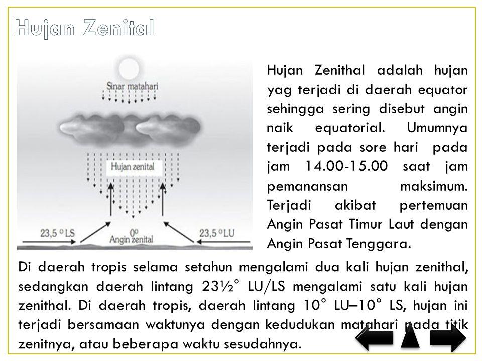 Di daerah tropis selama setahun mengalami dua kali hujan zenithal, sedangkan daerah lintang 23½° LU/LS mengalami satu kali hujan zenithal.