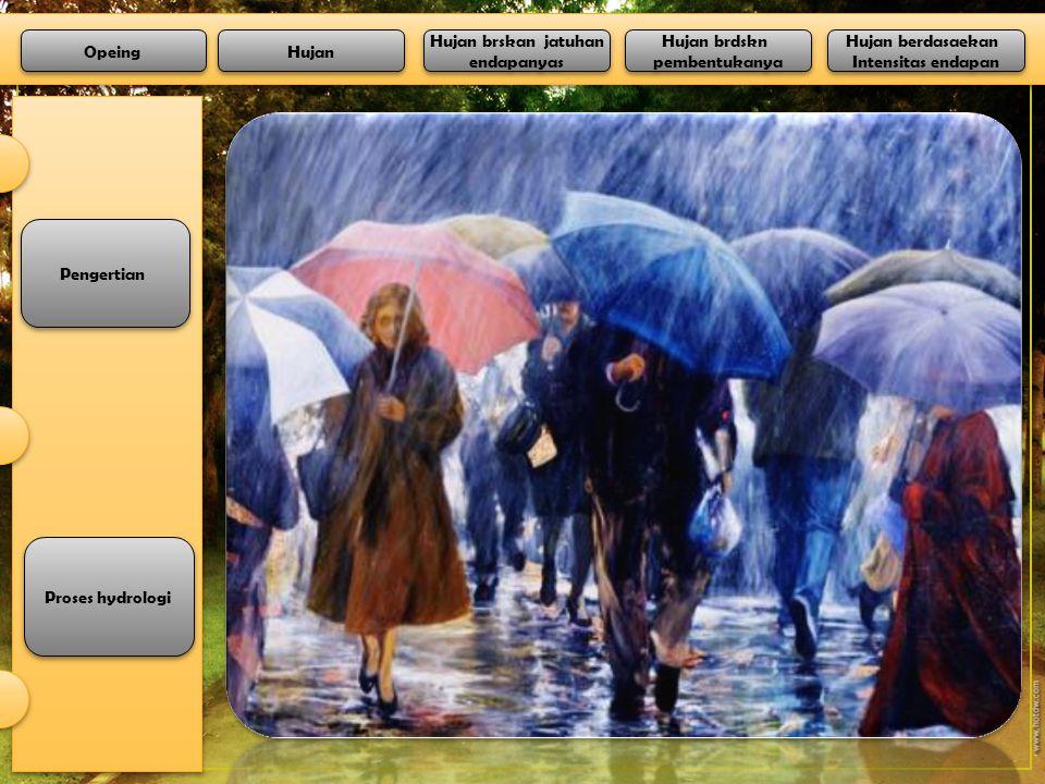 Pengertian Proses hydrologi Opeing Hujan Hujan berdasaekan Intensitas endapan Hujan berdasaekan Intensitas endapan Hujan brdskn pembentukanya Hujan brdskn pembentukanya Hujan brskan jatuhan endapanyas Hujan brskan jatuhan endapanyas