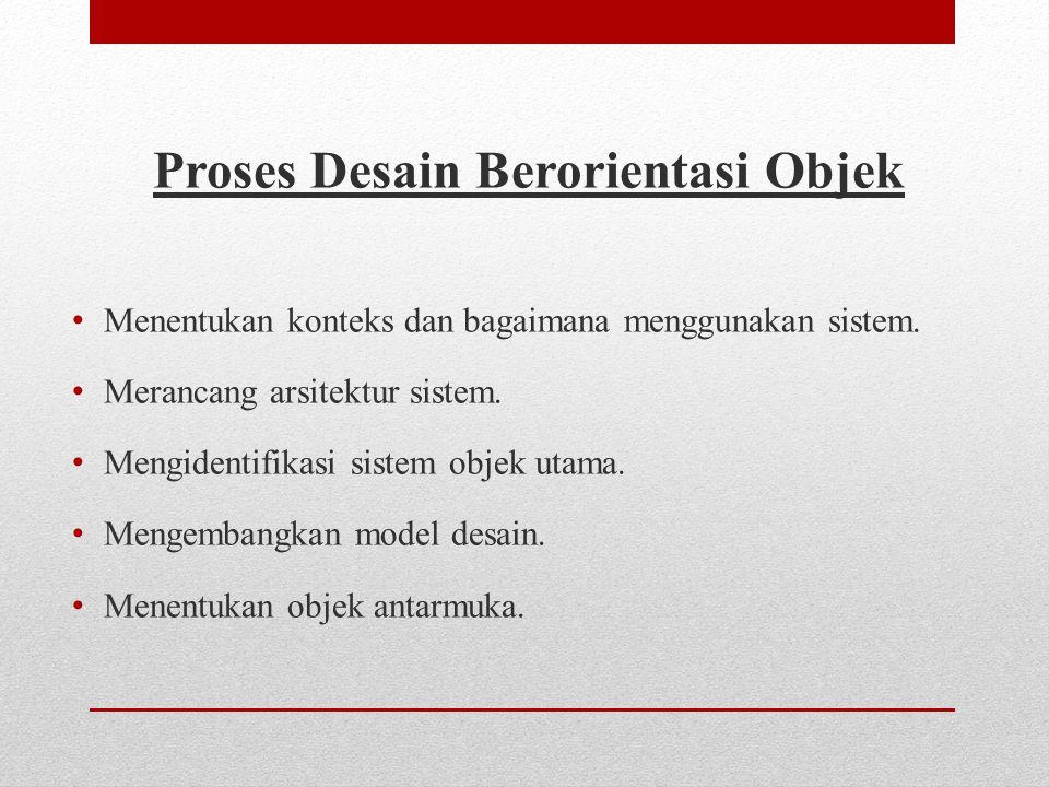 Proses Desain Berorientasi Objek • Menentukan konteks dan bagaimana menggunakan sistem.