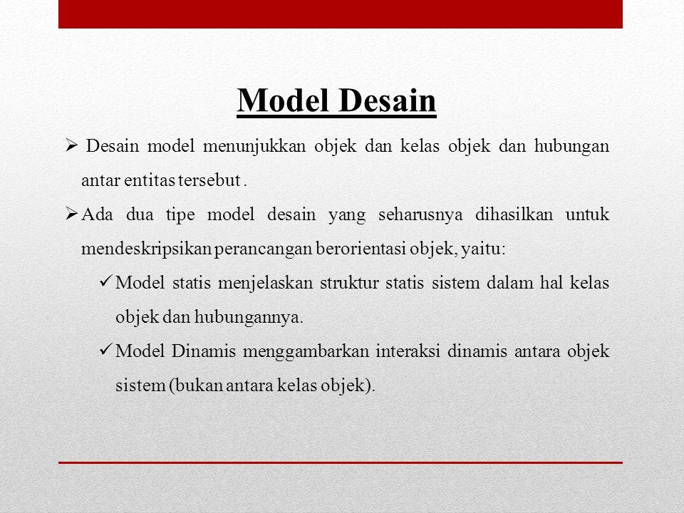 Model Desain  Desain model menunjukkan objek dan kelas objek dan hubungan antar entitas tersebut.