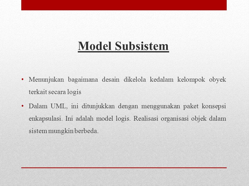 Model Subsistem • Menunjukan bagaimana desain dikelola kedalam kelompok obyek terkait secara logis • Dalam UML, ini ditunjukkan dengan menggunakan paket konsepsi enkapsulasi.