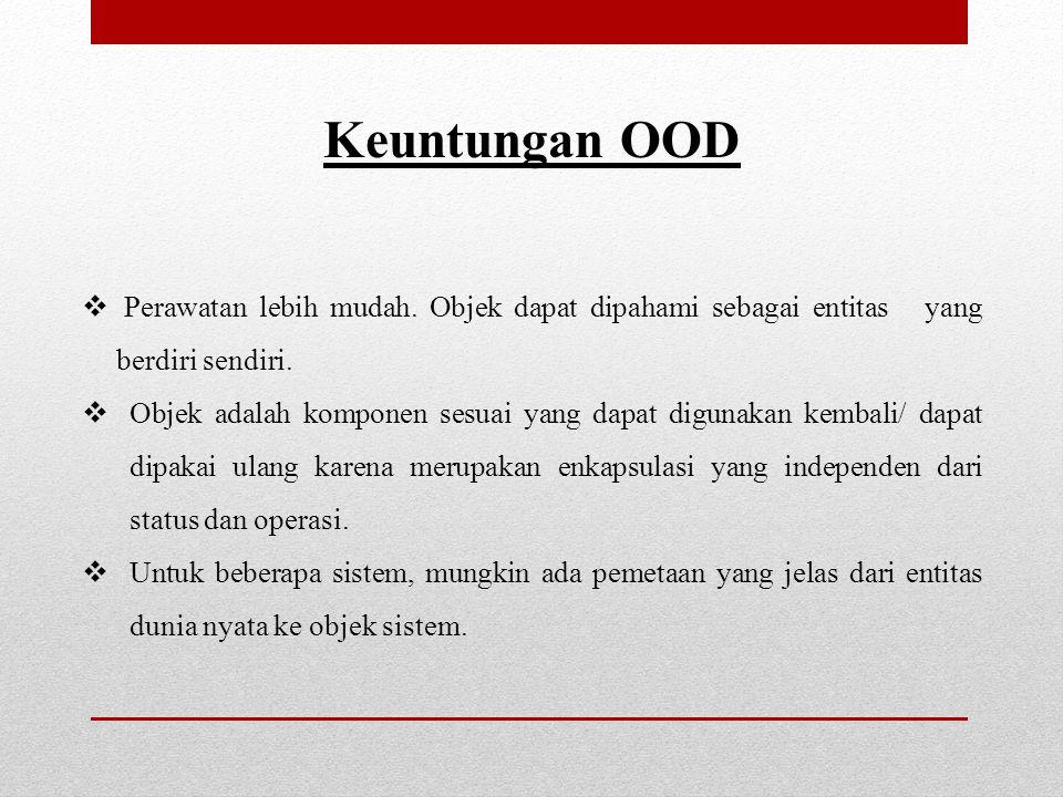 Keuntungan OOD  Perawatan lebih mudah.Objek dapat dipahami sebagai entitas yang berdiri sendiri.