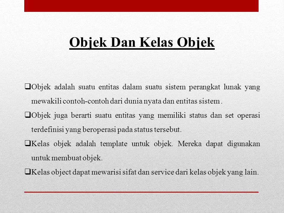 Objek Objek adalah sebuah entitas yang memiliki bentuk dan satu set operasi terdefinisi yang beroperasi dalam bentuk tersebut.