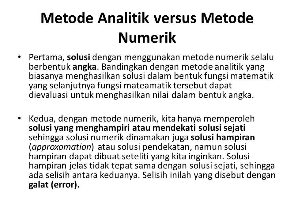 Metode Analitik versus Metode Numerik • Pertama, solusi dengan menggunakan metode numerik selalu berbentuk angka. Bandingkan dengan metode analitik ya