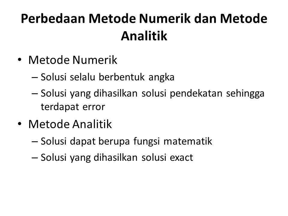 Perbedaan Metode Numerik dan Metode Analitik • Metode Numerik – Solusi selalu berbentuk angka – Solusi yang dihasilkan solusi pendekatan sehingga terd