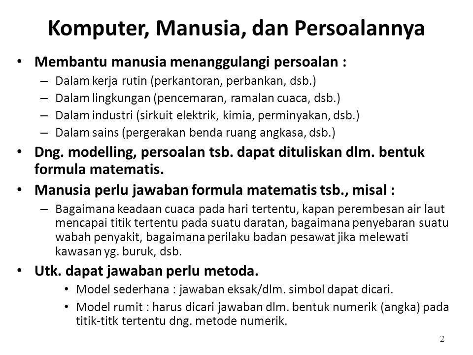 2 Komputer, Manusia, dan Persoalannya • Membantu manusia menanggulangi persoalan : – Dalam kerja rutin (perkantoran, perbankan, dsb.) – Dalam lingkung