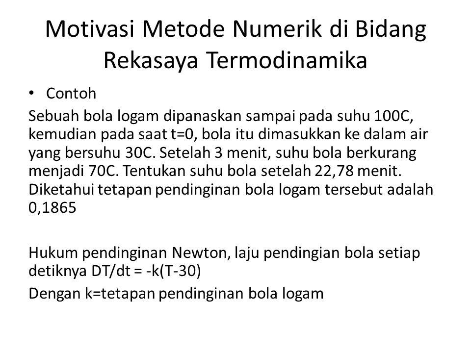 Motivasi Metode Numerik di Bidang Rekasaya Termodinamika • Contoh Sebuah bola logam dipanaskan sampai pada suhu 100C, kemudian pada saat t=0, bola itu