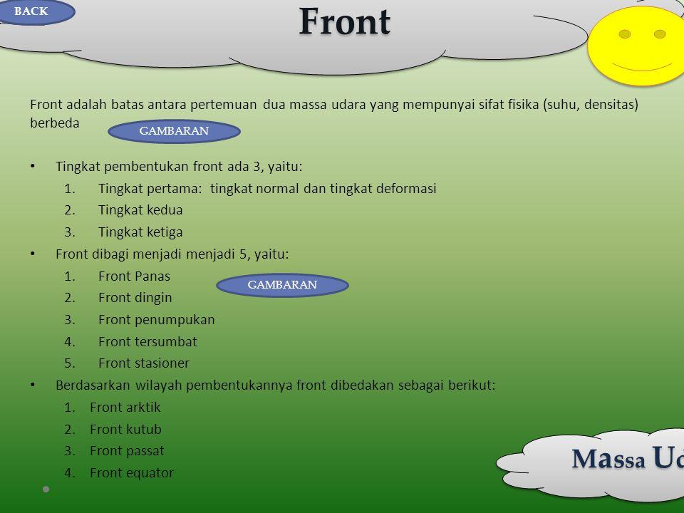 Front Front adalah batas antara pertemuan dua massa udara yang mempunyai sifat fisika (suhu, densitas) berbeda • Tingkat pembentukan front ada 3, yait