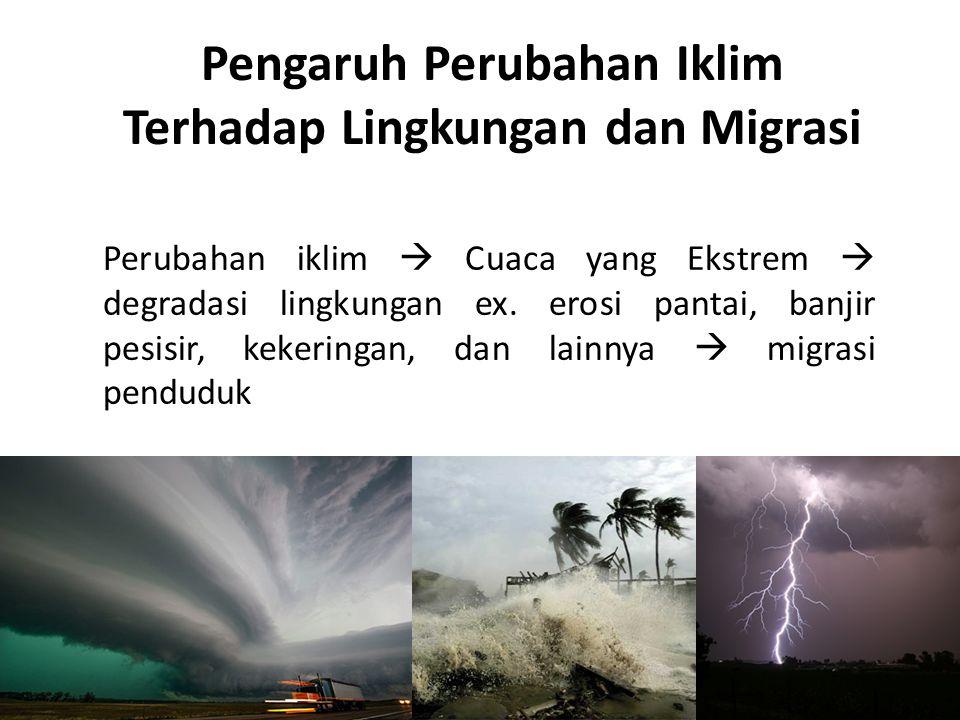 Pengaruh Perubahan Iklim Terhadap Lingkungan dan Migrasi Perubahan iklim  Cuaca yang Ekstrem  degradasi lingkungan ex. erosi pantai, banjir pesisir,