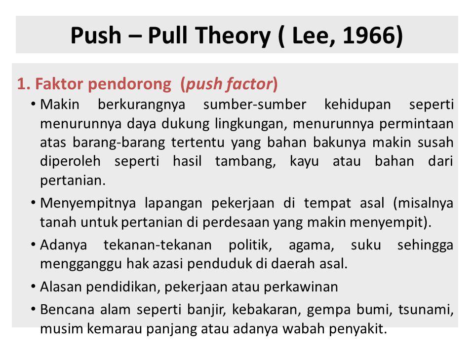 Push – Pull Theory ( Lee, 1966) 1. Faktor pendorong (push factor) • Makin berkurangnya sumber-sumber kehidupan seperti menurunnya daya dukung lingkung